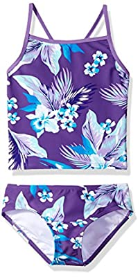 Kanu Surf Girls' Big Melanie Beach Sport 2-Pc Banded Tankini Swimsuit, Alania Floral Purple, 7