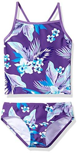 Kanu Surf Girls' Big Melanie Beach Sport 2-Pc Banded Tankini Swimsuit, Alania Floral Purple, 7