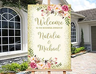 restore2a Rehearsal Dinner Welcome Sign, Ivory Rehearsal Dinner Welcome Welcome Poster, Blush Pink Flowers, Printable Sign, Digital File