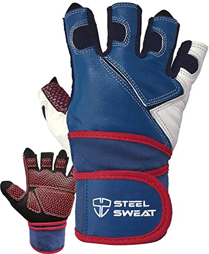 Steel Sweat Weightlifting Gloves with 18-inch Wrist Wrap Support for Workout, Gym and Fitness Training - Best for Men and Women Who Love Weight Lifting - Leather ZED Blue XXL