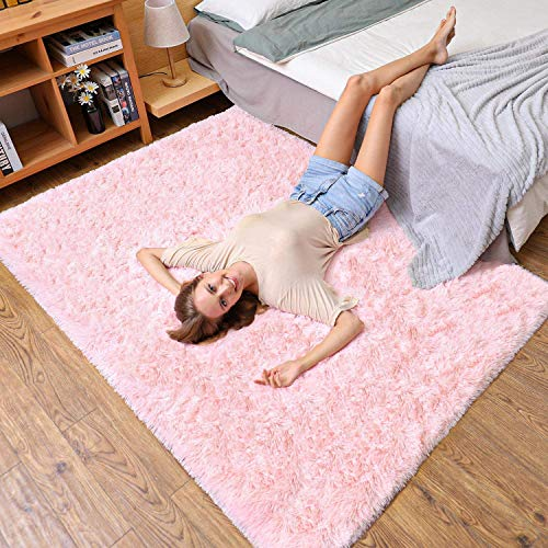Ophanie Machine Washable Fluffy Area Rugs for Living Room, Ultra Soft and Thick Faux Fur Shag Rug Non-Slip Carpet for Bedroom, Kids Baby Room, Nursery Decor Rug, 4x5.3 Feet Pink