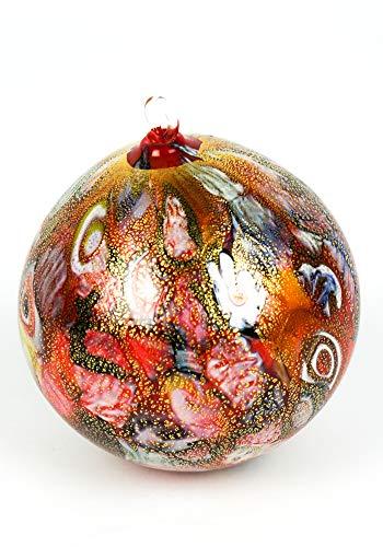 MadeMuranoGlass Palla di Natale Rosso millefiori in Vetro soffiato