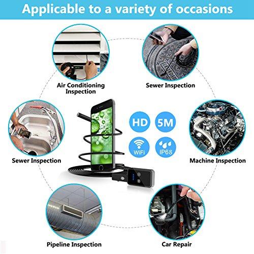 VICTONY 16.4FT 1200P Semi-rigid Wireless Endoscope, 2.0 MP HD WiFi Borescope Inspection Camera, Snake Camera for Android & IOS Smartphone Tablet