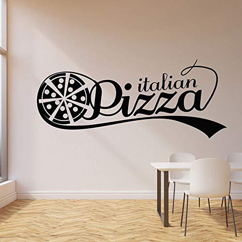 Pizza italiana Tienda de comida caliente Pizzeria Tasty Logo Letrero Etiqueta de la pared Calcomanía de vinilo Dormitorio Sala de estar Comedor Hornear Cocina Restaurante Decoración para el hogar