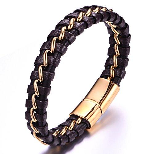 Pulsera hombres Cuero negro con 18 K chapado en oro cadena de acero inoxidable cierre magnético 21,5 cm