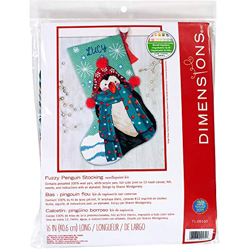 Dimensions Fuzzy Penguin 71-09160 Needlepoint DIY Christmas Stocking, 12 Mesh Canvas, 16' Long