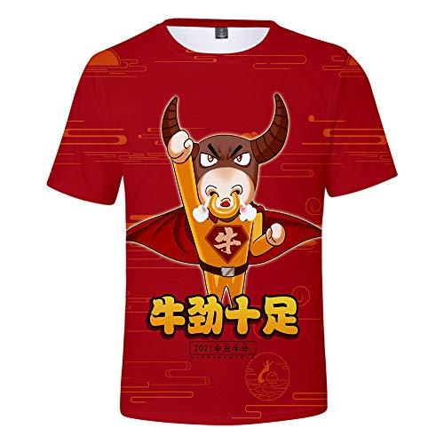 Año de la Buey Camisetas,Weiii Casual Suelto Camisetas para Hombres Y Mujeres,Camisetas con Zodíaco Signos,Verano Dibujos Animados Impreso Manga Corta Camisetas,Pareja Camisetas Moda Fósforo/B