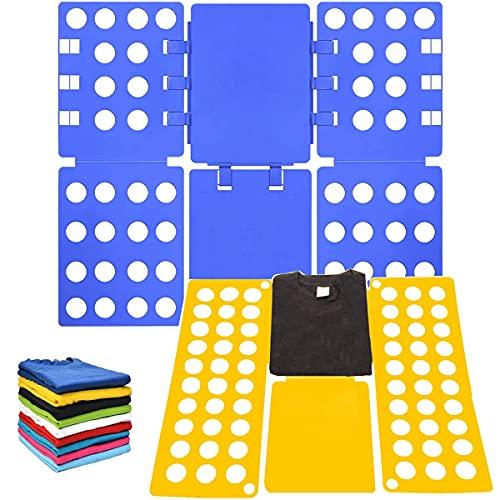 AMZMUKAUP 2 Piezas Doblador de Ropa, Doblar la Ropa Placa Ayuda para Plegar la Ropa Camisetas Tablero para Plegar Ajustable para Ropa Camisas Ropa de niños y Adultos(Azul + Amarillo)