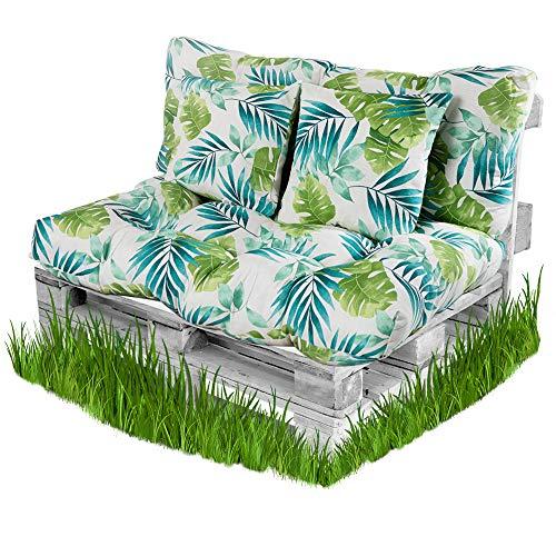 BCASE Pack Cojin Palet Fibra + Cojín Respaldo para Pales Acolchados, Cojín Relleno, Incluye Respaldo y Cojín del Asiento, Ideal para Jardín, Terraza, Patio y Balcón, Azul Tropical