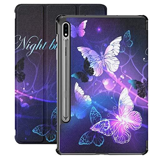 Funda Galaxy Tablet S7 Plus de 12,4 Pulgadas 2020 con Soporte para bolígrafo S, Fondo Negro, Mariposas nocturnas Brillantes, Funda Protectora Tipo Folio con Soporte Delgado para Samsung