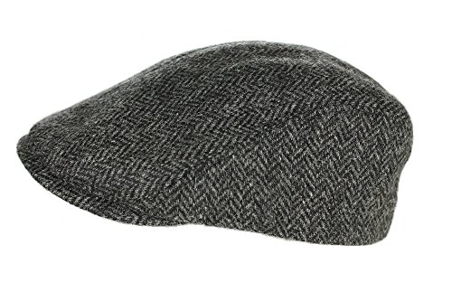 Irish Touring Cap Made in Ireland Fitted Slim Fit Genuine Tweed Charcoal XL