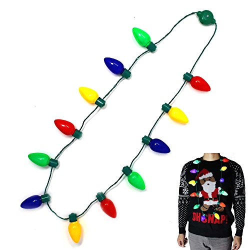 Joyin Toy LED Christmas Bulb Necklace Light Up Party Favors 12 LED Bulbs (1 Pack)