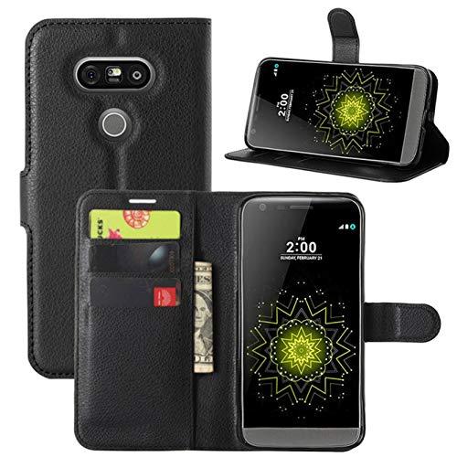 HualuBro Cover LG G5, Flip Case in PU Pelle Premium Portafoglio Cover [Funzione Stand] [Slot Carte] Leather Wallet Phone Custodia per LG G5 (Nero)