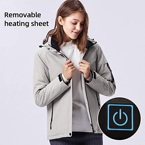 Roboraty Verwarmde damesjas met USB-aansluiting, elektrische, warme katoenen mantel met reflecterende strepen, 3-traps temperatuurregeling, waterdicht en winddicht voor skimotorfietsen XXL beige
