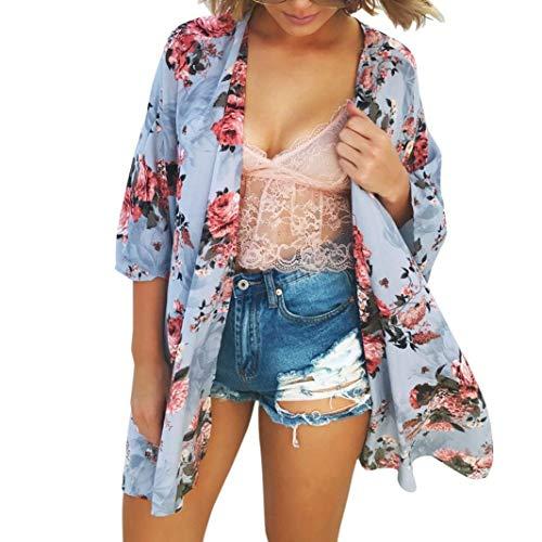 Damen Cardigan Sommer Chiffon Blumenprint Elegant Festival Mode Tunika Fashion Freizeit Bequem Trendigen Hipster Mantel Kurzarm Sommermode Kimono Outwear (Color : Blau, Einheitsgröße : S)
