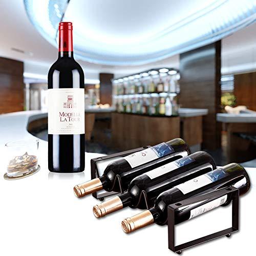 GerFogoo - Soporte organizador de almacenamiento para botellas de vino, 3 botellas, de metal, para cocina, bar, bodega, gabinete de despensa