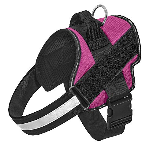 Orinci No Pull Dog Harness for Dogs Adjustable Soft Breathable Padded Pet Vest Reflective Walking Pet Halters with Easy Control Nylon Handle (M,Rose Red)