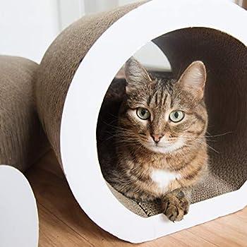 Navaris Tunnel Griffoir pour Chats - Lot 2X Tunnel à Gratter 1x Grattoir pour Chat Chaton - Jouet Multifonction - en Carton - Tailles Variées