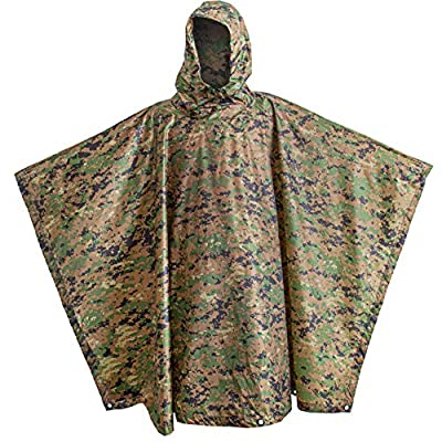 USGI Industries Military Spec Poncho Emergency Tent Shelter Multi Use Rip Stop Camo Survival Rain Poncho (Marpat)