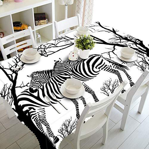 Tovaglia 3D Buon Natale Animale Selvatico Zebra Lion Pattern Panno Impermeabile Addensare Tovaglia Da Tavola Rettangolare E Rotonda@Zebra_140 X 180 Cm
