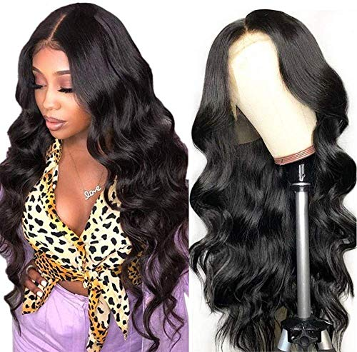 Echthaar perücke Human Hair 360 lace front wig wavy natural hair Echthaarperücken für schwarze Frauen real remy brazilian hair (61cm(24 inch), Natürliche Farbe) …
