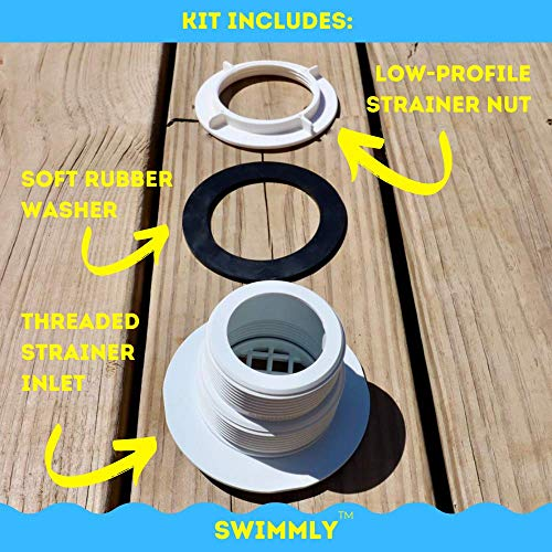 Stock Tank Pools Threaded Inlet Strainer Kit Incl. Rubber Washer and Strainer Nut   Fits Intex Filter Pumps w/ 1-1/2