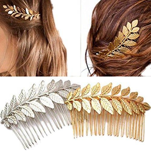 cuhair Lot de 2 pinces à cheveux en alliage métallique en forme de feuille pour femme jeune fille Barrettes Peigne