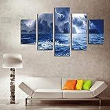 Genrics HD Pintura Al Óleo Cuadro Storm Wave Painting Group 5 Canvas Art Large Modern Mural Oil Painting Canvas Set Sin Marco 30X40 30X60 30X80Cm Sin Marco