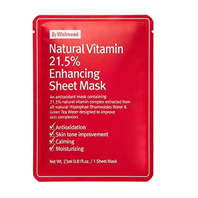 BY WISHTREND Natural Vitamin 21.5 Enhancing Sheet Mask / 10 sheets / good with vitamin serum