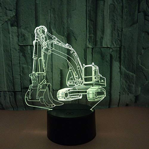 [DBF] 3D Lamp Excavator Night Light Illusion Led Table Lamp 7&16M Color s USB Novelty Luces Car Shape Desk Bedside Nightlight Lamps