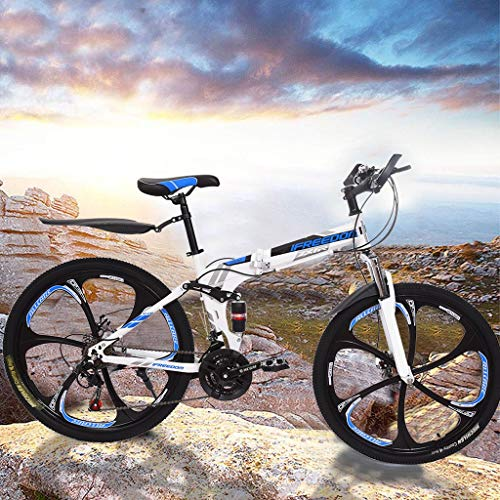 KINGC 26 Inch Mountain Bike Outdoor 21 Speed Bicycle Full Suspension MTB Bicycles Fashione Folding Mountain Bikes for Youths and Adults Lightweight and Durable