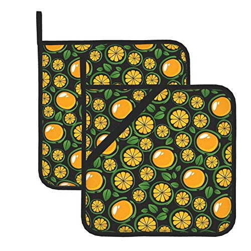 Juicy Tangerines 100% Cotton Set of 2 Pot Holders with Loop Heat Resistant for BBQ | Cooking | Baking | Grilling | Microwave | Barbecue | Four Season (8 Inch X 8 Inch)