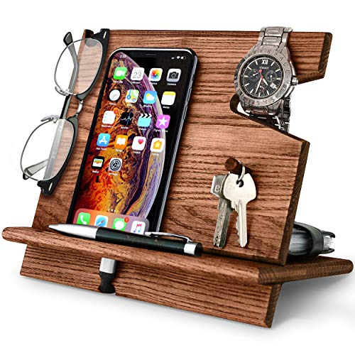 BarvA Wood Docking Station Cell Phone Smartwatch Holder Men Charging Accessory Nightstand Father Mobile Gadget Organizer Desktop Dresser Storage Valet Anniversary Birthday Graduation Gift
