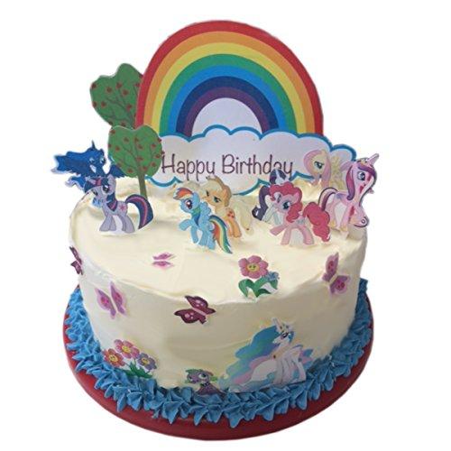Esspapier, Motiv: My Little Pony, mit der Aufschrift Happy Birthday, essbare Kuchendekoration