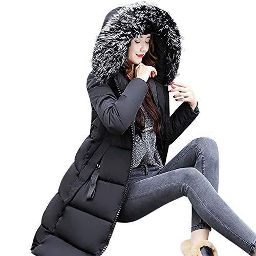 LILICAT Abrigos Largo de Mujer Plumas, Chaqueta Tallas Grandes Caliente Gruesa de la Moda 2017 del Invierno,Sobretodo Slim Casual Sólido con Capucha (L, Negro)