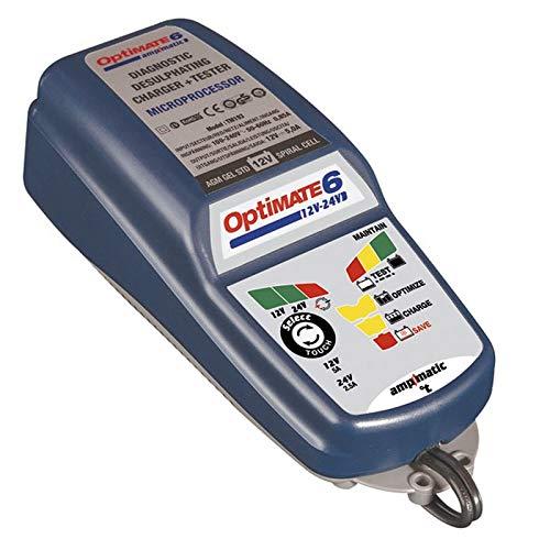 TecMate OptiMate 6 12V-24V, TM194, 2V 5A/ 24V 2.5A Vollautomatische Batterieladegerät für Starter - und Deep Cycle Batterien