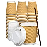 [50 Sets - 10 oz.] Insulated Ripple Paper Hot Coffee Cups With Lids