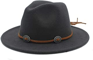 PengCheng Pang Men Women Winter Fedora Hat Panama Jazz Hat Wide Brim Church Fascinator Hat Casual Wild Jazz Hat Size 56-58CM (Color : Dark Gray, Size : 56-58)