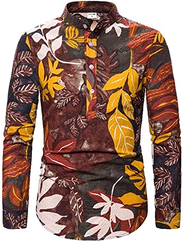 Men's Button Stand-up Collar Shirts Fashion Ethnic Style Print Slim Fit