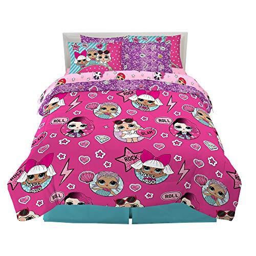 Kitchen Designers Kids Bedding Super Soft Juego de edredón y sábanas con Funda de Almohada, Microfibra, LOL Sorpresa, 7 Piece Full Size