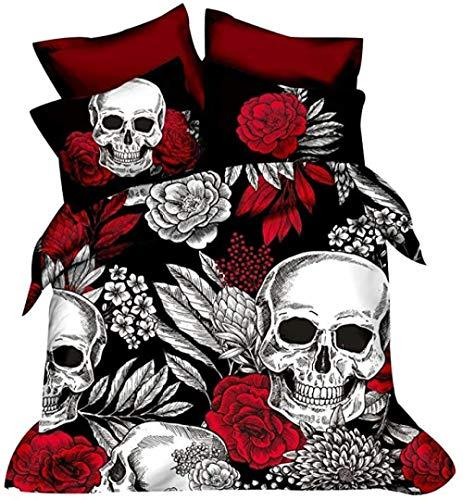 HUA JIE Süße Kinder Bettbezüge Bär Blumenschädel Bettbezug Set 3D-Druck Gothic Bones Bettwäsche Blumen Tröster Mit 2 Kissen Shams W&erschöne Mikrofaser Tagesdecke Lichtecht 3 Stück Beständig