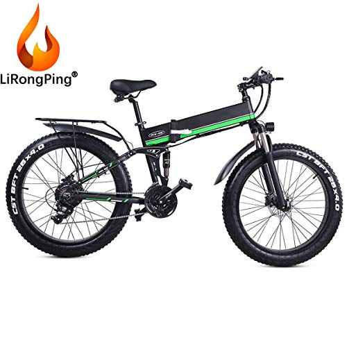 Lightweight Electric Bike Electric Bicycles,1000W E-Bike with 26 Inch Fat Tire,Removable 48V 12.8 AH Lithium-Ion Battery Pedelec City Bike