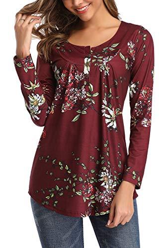 Bequemer Laden Tunika Damen Blumen Langarmshirt V-Ausschnitt Knopfleiste Plissiert Oberteil Langarm Bluse T-Shirt Top