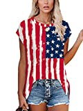 Tops for Women Womens Summer Tops Fourth of July Outfits for Women Flag XL