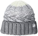 adidas Women's Canyon Fold Beanie, Grey/Clear Onix/White, ONE SIZE