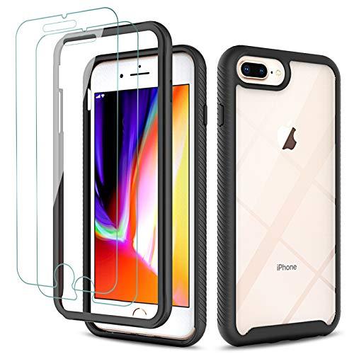 KEEPXYZ Funda para iPhone 6s Plus iPhone 7 Plus iPhone 8 Plus + 2 Pcs Protector Pantalla para Cristal Templado, Antigolpes Negro y Transparente Carcasa + Vidrio Templado para iPhone 7+ iPhone 8+