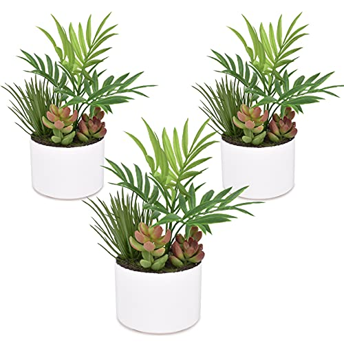 I-GURU 3 Pack Mini Green Plants Potted, Artificial Small Fake Plant for...