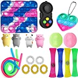 VANREYIN 25 Combinations Fidget Toy,Autism Special Needs Stress Reliever Silicone Stress Reliever Toy,Squeeze Toy (Pink)