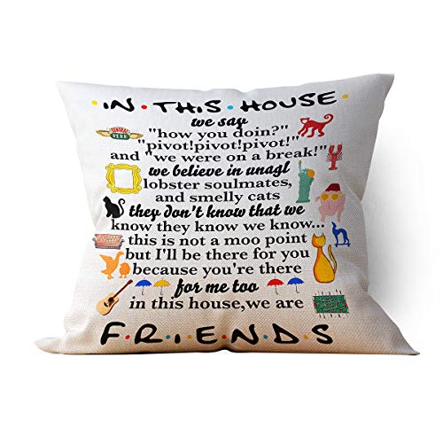 "chillake Funny Friends TV Show Quotes in This House Family Rules Throw Pillow Case Cushion Cover for Sofa Couch Living Room Home Decor - Best Pillow Case Gifts for Friends Fans(18""x 18""Inch)"