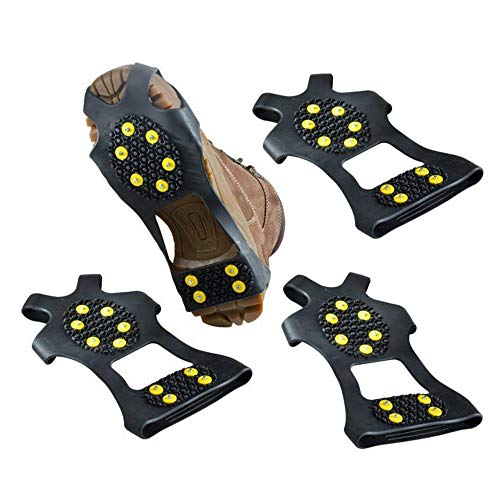 HJJH EIS- und Schneegriffe über Schuh-Boot-Traktion Cleat, Rubber Spikes Anti-Rutsch-10-Stud-Steigeisen Slip-On-Stretch-Schuhe zum Klettern und Wandern 2 Paare (ohne Schuhe),L
